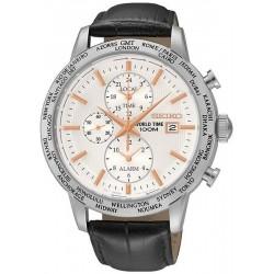 Orologio Seiko Uomo SPL053P1 World Time Cronografo Alarm Quartz