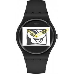 Orologio Mickey Mouse Swatch Mickey Blanc Sur Noir SUOZ337